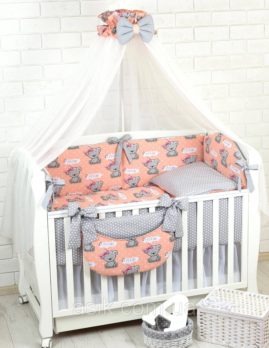 Комплект постельного белья Asik Мишки с бантиком на персиковом 8 предметов (8-292)
