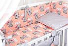 Комплект постельного белья Asik Мишки с бантиком на персиковом 8 предметов (8-292), фото 2