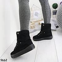 Ботинки женские зимние на платформе с отворотом черные