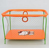 "Манеж №9 ЛЮКС ""Hello Kitty"" - цвет оранжевый,прямоугольный, мягкое дно, крупная сетка"