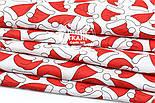 "Ткань новогодняя ""Шапочки Санта Клауса"" на белом фоне, №1561, фото 2"