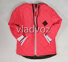 Детская демисезонная куртка для девочек розовый 3-4 года