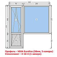 VEKA (58мм) Окна металлопластиковые (балконный блок)