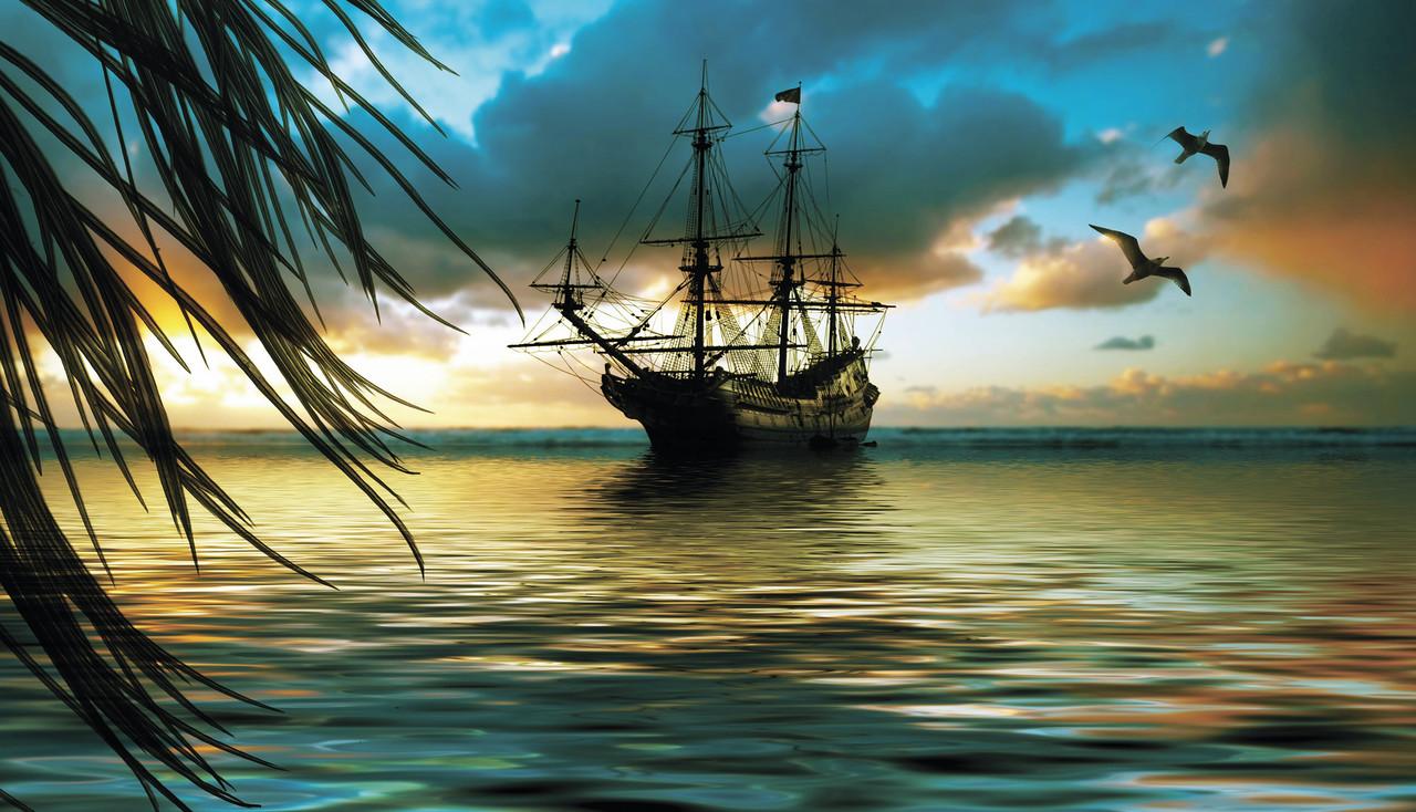 "Картина на стекле ""Корабль на закате"""