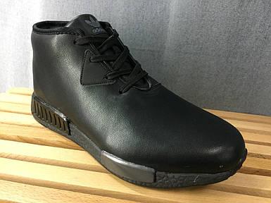 Мужские зимние ботинки  Adidas.Черные/Кожа