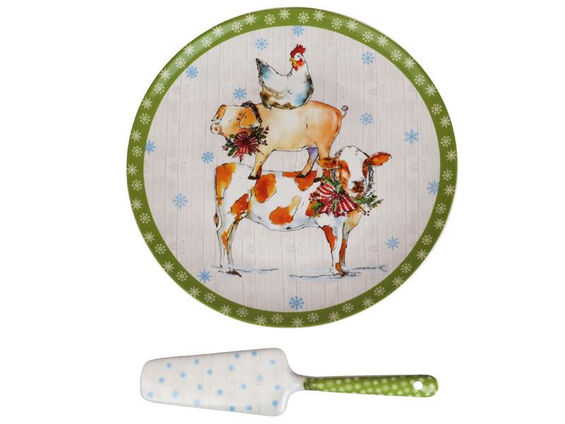 """Блюдо для торта с лопаткой  """"Новый год"""" 23 см, Lefard, 924-326"""