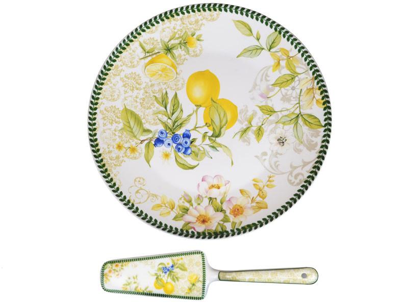 """Блюдо для торта с лопаткой  """"Лимон"""" 27 см, Lefard, 924-359"""