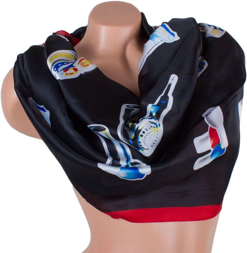 Жіночий шарф ETERNO (ЭТЕРНО) ES1908-14-1, 180х72 см, атласний, чорний