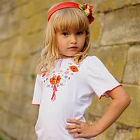Детская вышитая футболка для девочки   Дитяча вишита футболка для дівчинки