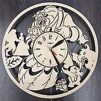 Деревянные часы в детскую Красавица и Чудовище