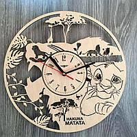 Деревянные часы в детскую Король Лев