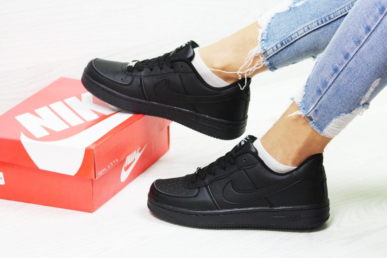 2ff2ff2a Кроссовки в стиле Nike Air Force (черные) женские кроссовки найк код товара  6374