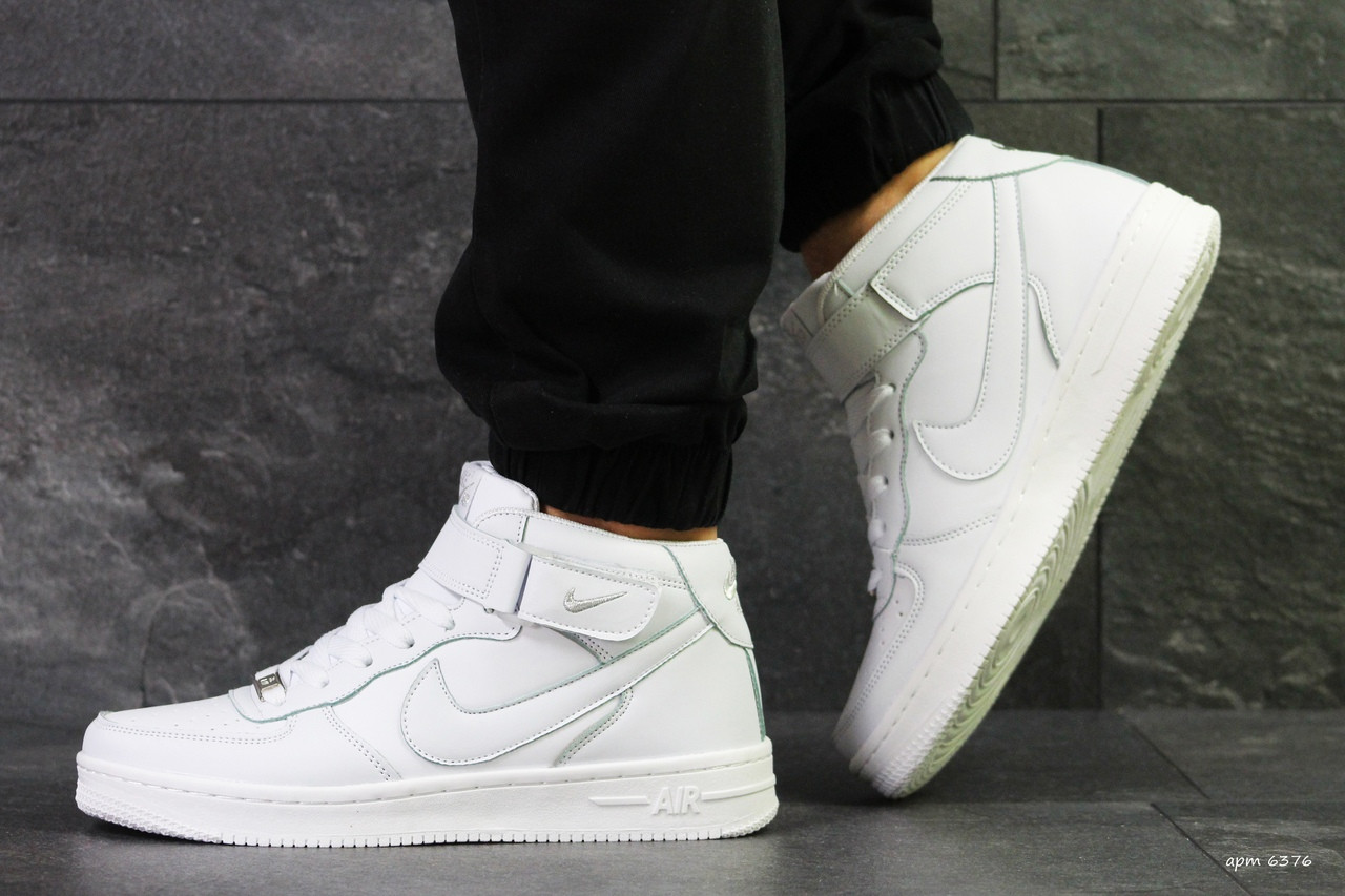 1151f201 Кроссовки в стиле Nike Air Force (белые) мужские кроссовки найк код товара  6376