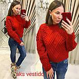 Женский теплый свитер объемной вязки (3 цвета), фото 5