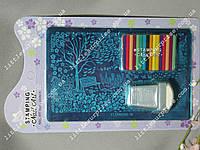 Набор для стемпинга - скрапер (карточка),штамп, диск FLOWERS-11