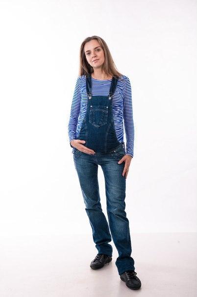 Синий Джинсовый комбинезон 2 в1 для беременных 42,44,46,48