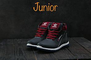 Детские зимние кроссовки Adidas бордовые топ реплика, фото 3