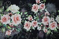 "Купон 3Д. Ткань костюмка №258 ""роза в тумане"", фото 1"