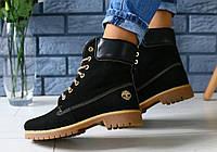 Ботинки зимние женские в стиле Timberland код товара FS-2677. Черные