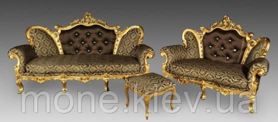 """Комплект в стилі барокко """"Белла"""" диван 2-ка, диван 3-ка і пуф."""