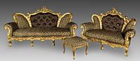 "Комплект в стиле барокко ""Белла"" диван 2-ка, диван 3-ка и пуф."