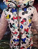 Детская зимняя куртка  Микки на овчине оптом на 5-9 лет пудра