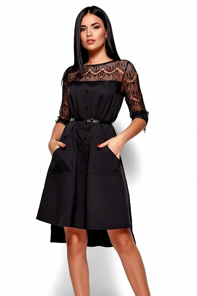 S | Вечірнє гіпюрове чорне плаття Aivorin