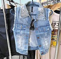 """Жилетка джинсовая женская   """"Синяя с потертостями и стазами"""" размер XXS-XS"""