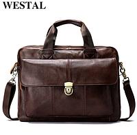 Классический мужской кожаный портфель WESTAL для ноутбука, планшета, документов из натуральной кожи