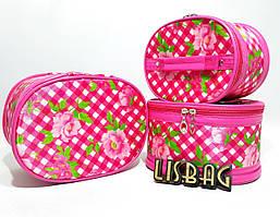 Косметичка 3в1 Матрешка,бочонок, органайзер Розовая в цветочек.клеточка