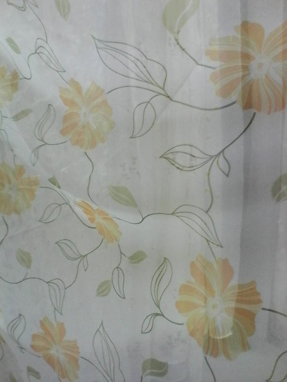 Шифон белый с бежевыми цветами