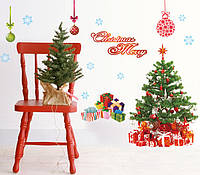 Інтер'єрна декор наліпка на стіну або скло Новий Рік / Интерьерная наклейка на стену или стекло Новый Год