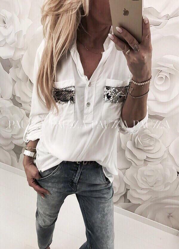Рубашка свободного кроя декорированная пайетками