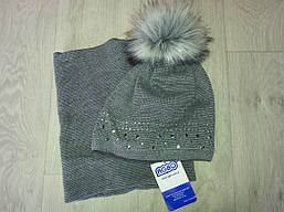 Детский комплект шапка и хомут(холодная весна) на девочку (Польша)