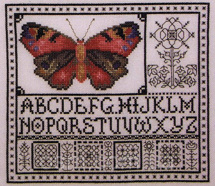 Схема для вышивки Rose Watercolor Butterfly