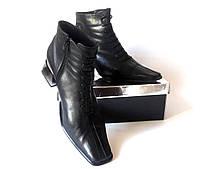 Полусапожки(ботинки) чёрные из натуральной кожи, Италия, размер 39-40, фото 1
