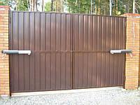 Распашные ворота из профнастила, фото 1