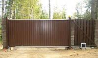 Откатные ворота из профлиста (изготовление ворот и монтаж)