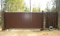 Откатные ворота из профлиста (изготовление ворот и монтаж), фото 1