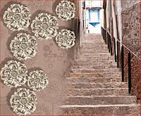 Фотообои  3Д металлические цветы и лестница