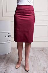 """Женская юбка """"Паула"""" бордо размеры 48-60"""