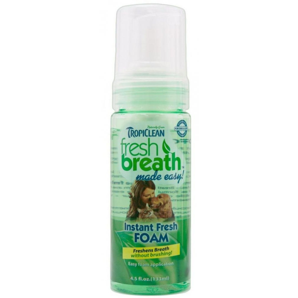 Пенка Tropiclean Instant mint foam (Чистое дыхание мята) для кошек и собак, 128 мл