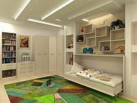 Откидная кровать с мебелью для детской комнаты