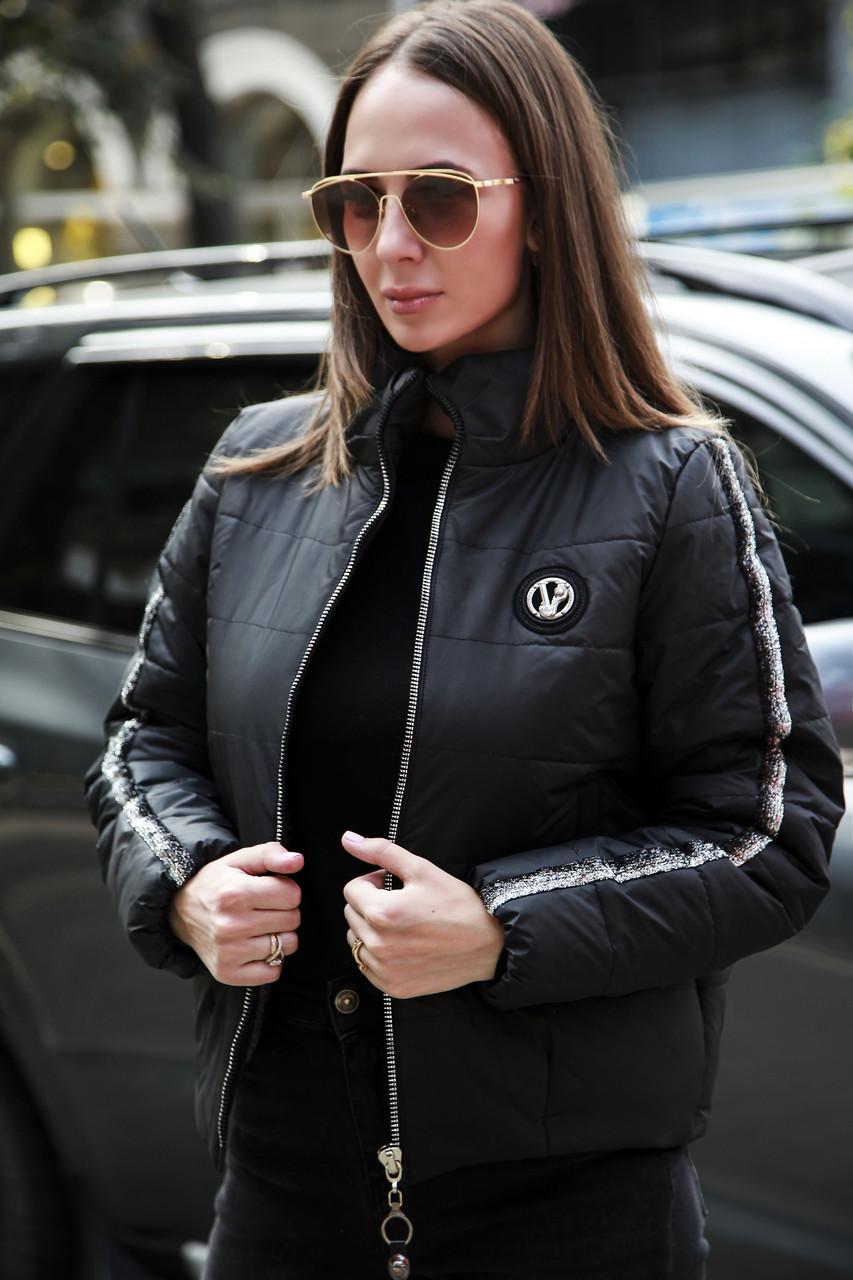 Плащевая женская демисезонная куртка на молнии 3301122