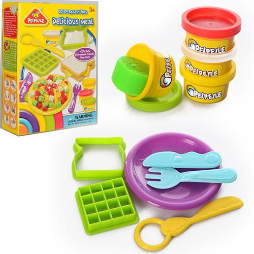 Тесто для лепки 6818-4  4цв(баноч, с крыш),аром, формоч2шт,посуда, инс