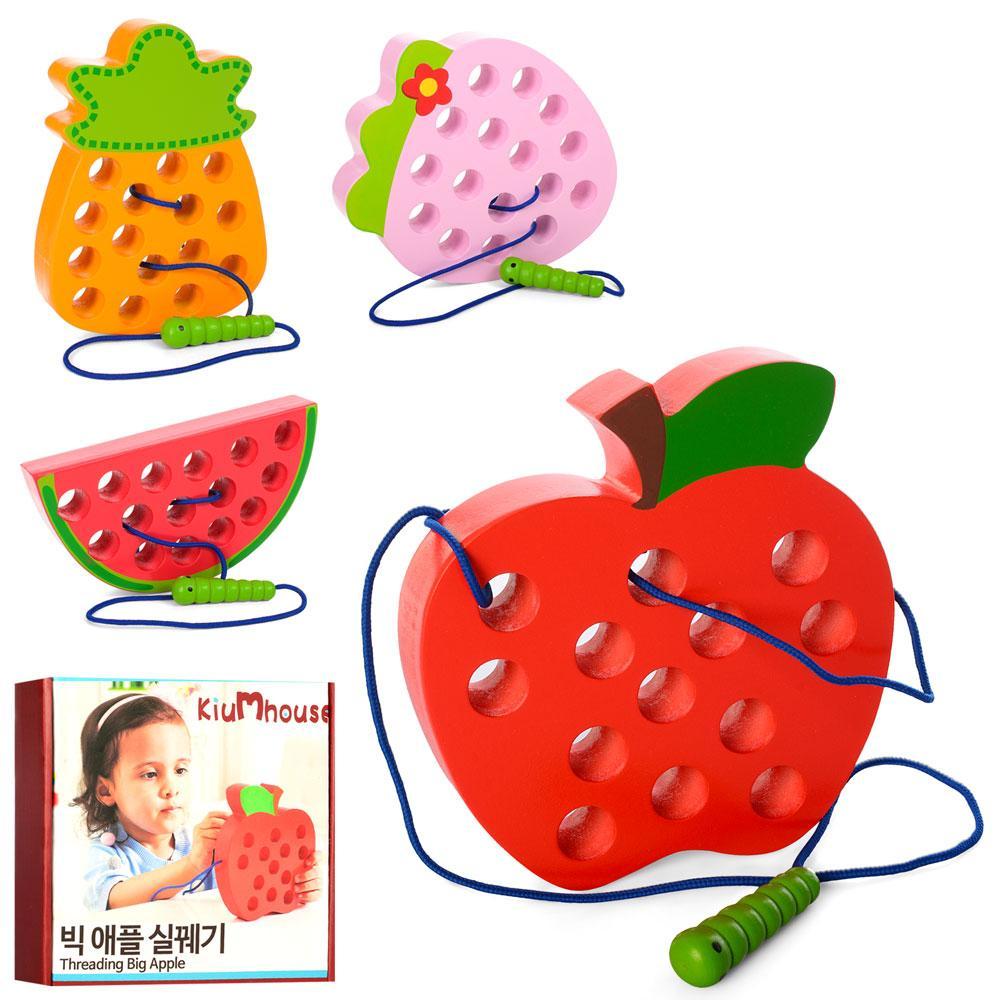 Деревянная игрушка Шнуровка MD 1228  фрукты, 15см, 4вида, в кор-ке, 18