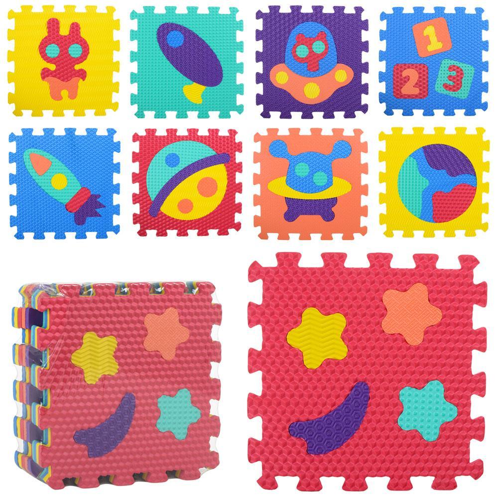 Коврик Мозаика M 2632  EVA,космос,9дет(32-32см,10мм),6текстур,пазл,в к