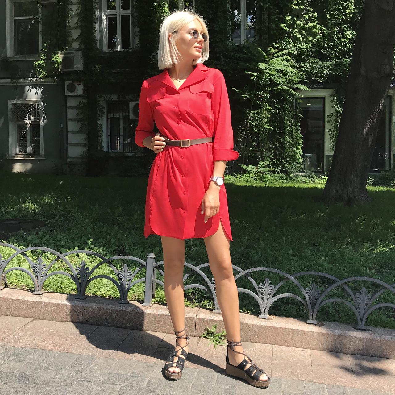 Платье-рубашка красное, арт.1007