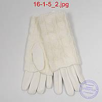 Женские белые трикотажные перчатки с плюшевым утеплителем и вязаной накидкой - №16-1-5