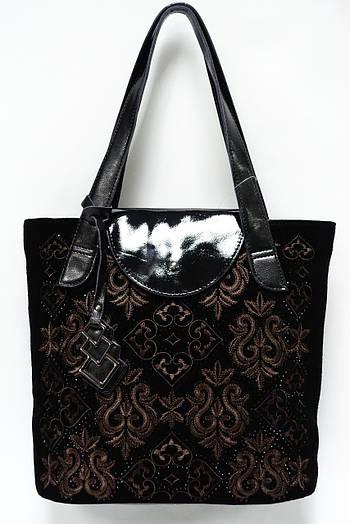 7177737265eb Женская кожаная сумка с натуральным замшем Solana 640 black coffee ...